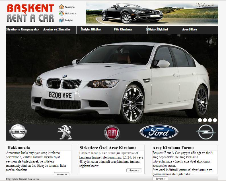 Başkent Rent A Car Web Site Tasarım