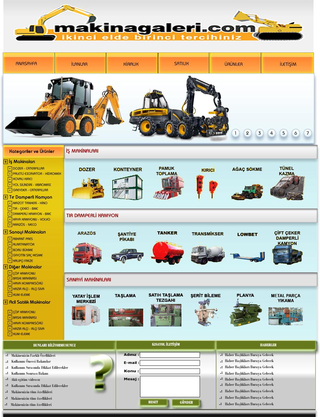 Makine Galeri Web Site Tasarım